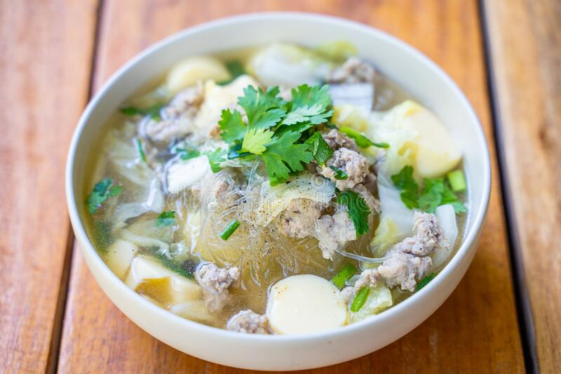 Minced pork and egg tofu soup. Thai food royalty free stock photo