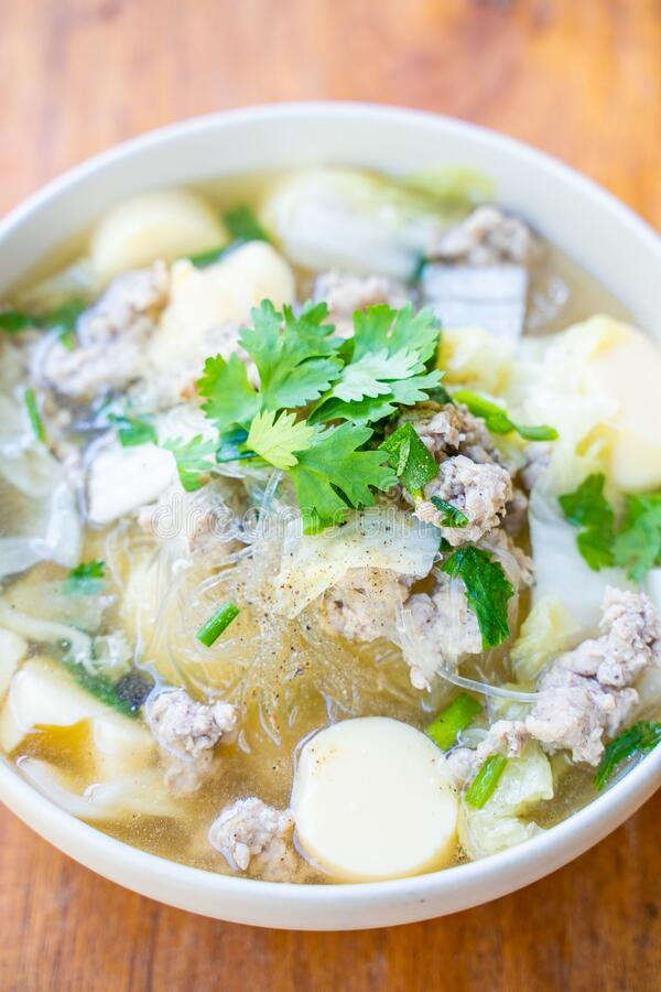 Minced pork and egg tofu soup. Thai food royalty free stock images