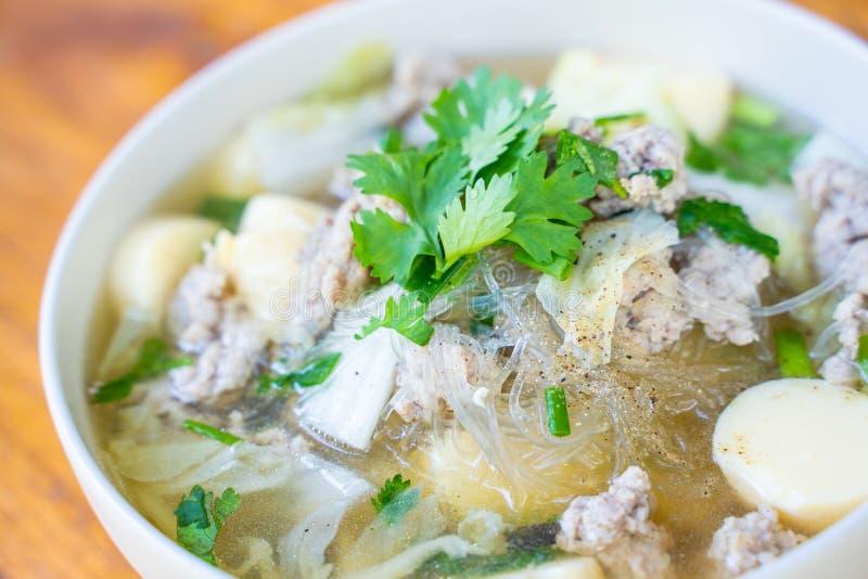 Minced pork and egg tofu soup. Thai food stock image