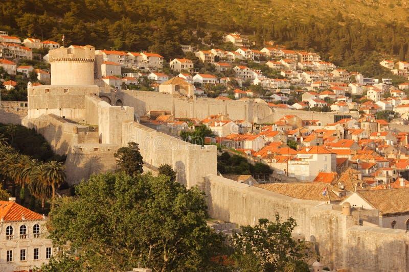 Minceta tower and city walls. Dubrovnik. Croatia. Minceta tower . Old town and city walls at sunset. Dubrovnik. Croatia stock images