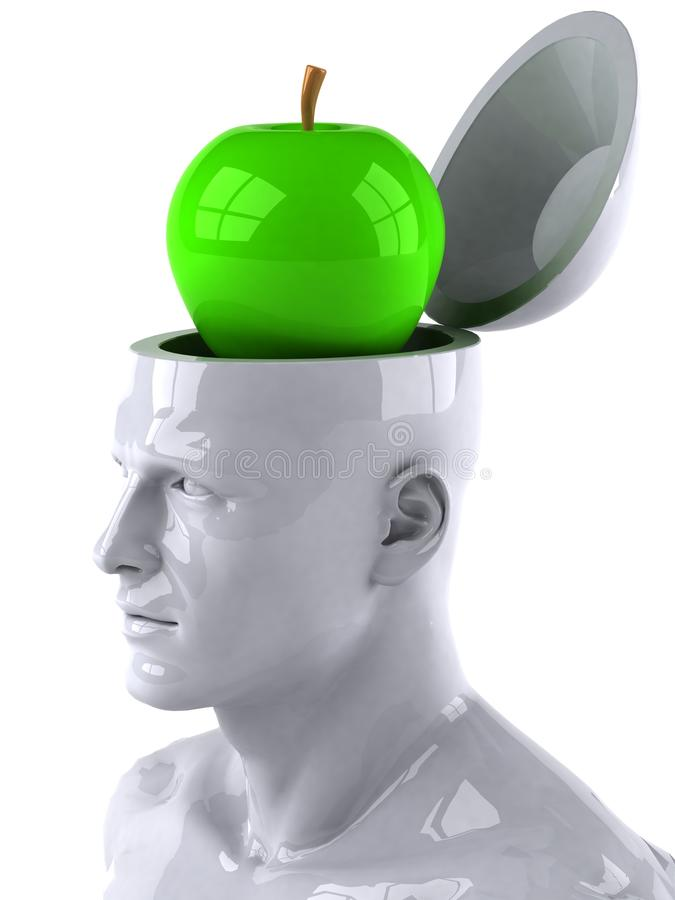 Mind and apple. Mind concept, 3d generated picture stock illustration