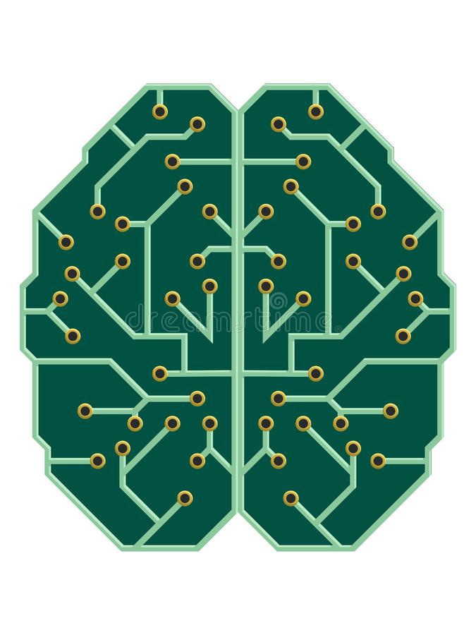 Mind as an electric printed circuit board. stock illustration