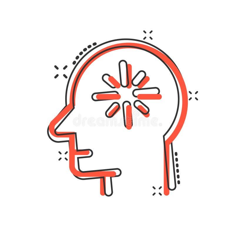 Free Mind Awareness Icon In Comic Style. Idea Human Cartoon Vector Illustration On White Isolated Background. Customer Brain Splash Royalty Free Stock Photo - 181355225