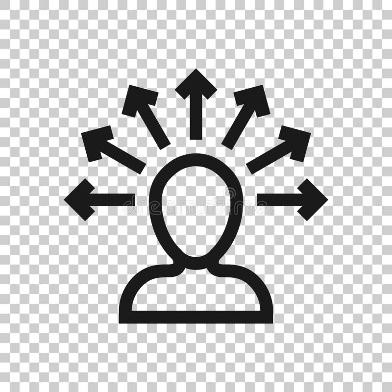 Mind awareness icon in transparent style. Idea human vector illustration on isolated background. Customer brain business concept.  stock illustration