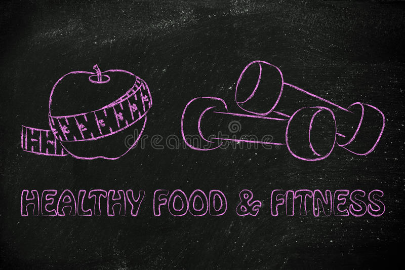 Mind, body and soul: fit life and healthy food. Fitness lifestyle and healthy food, taking care of mind body and soul stock photo