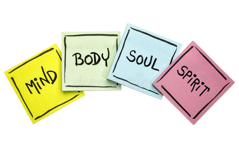 Mind, body, soul, and spirit - sticky note set. Mind, body, soul, and spirit concept - handwriting in black ink on isolated sticky notes royalty free stock photography