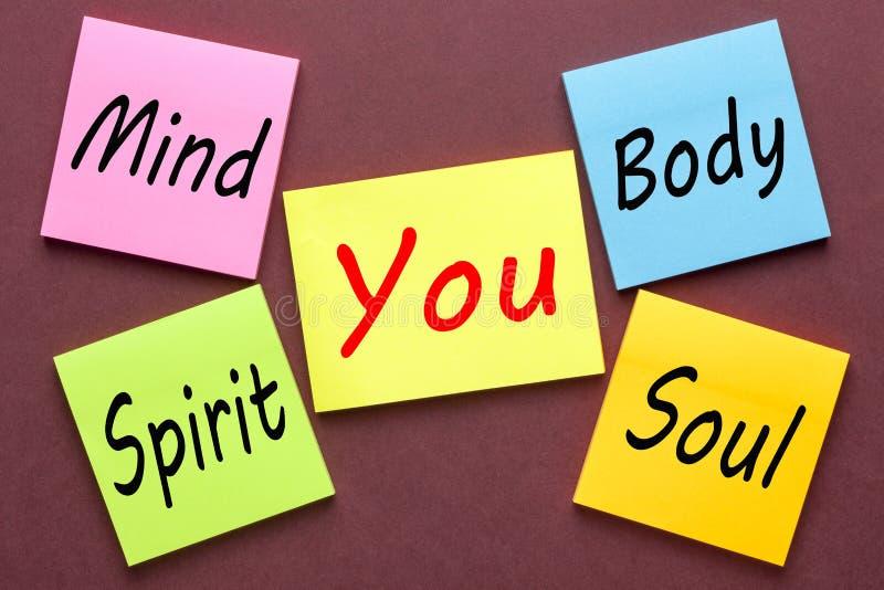 Mind Body Spirit Soul. Mind, Body, Spirit, Soul And You written on color notes. Growth concept stock photos