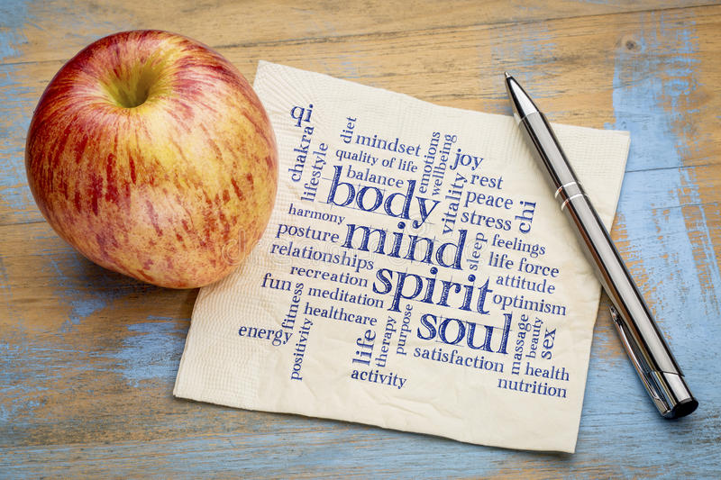 Mind, body, spirit and soul word cloud on napkin royalty free stock image
