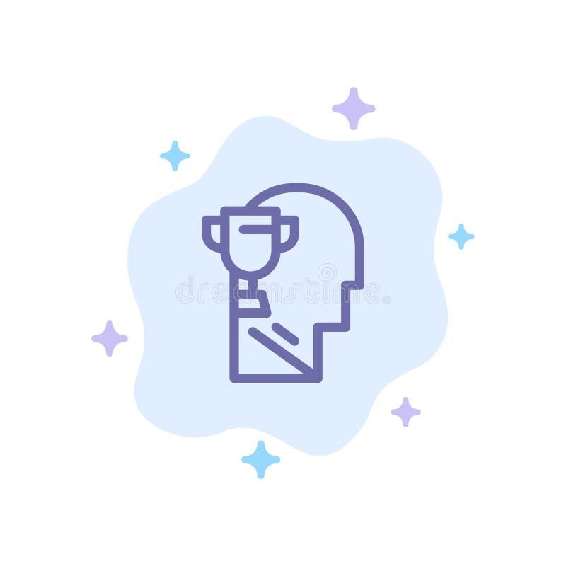 Mind, Brian, Award,Head Blue Icon on Abstract Cloud Background(摘要云背景上的头蓝图标) 向量例证