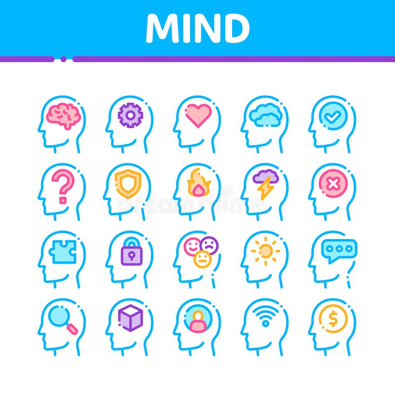 Mind Collection Elements Signs Vector Icons Set vector illustration