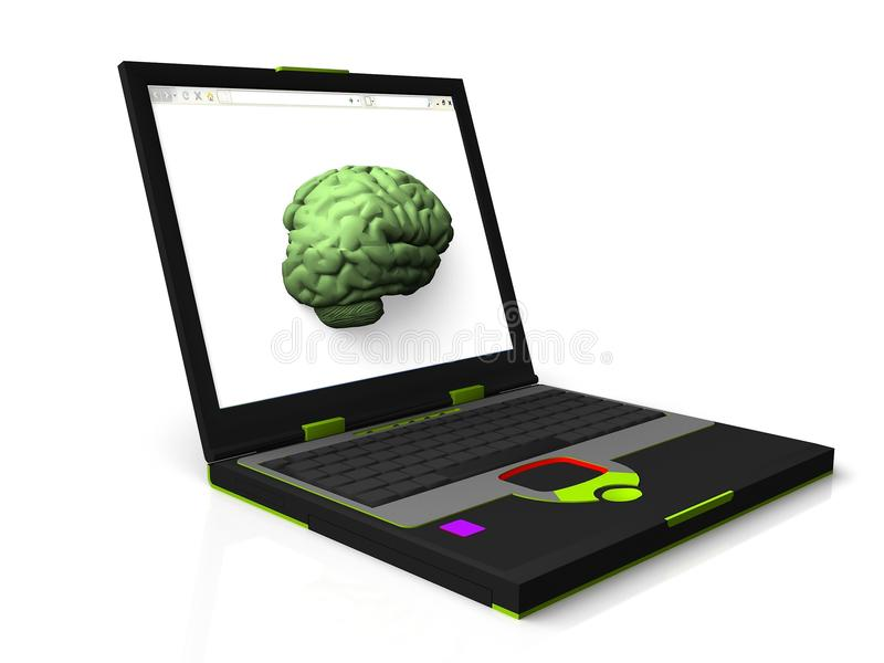 Mind of a computer. A brain embedded on a laptop computer vector illustration