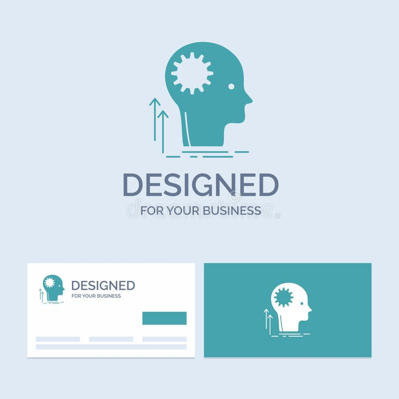 Mind, Creative, thinking, idea, brainstorming Business Logo Glyph Icon Symbol for your business. Turquoise Business Cards with stock illustration