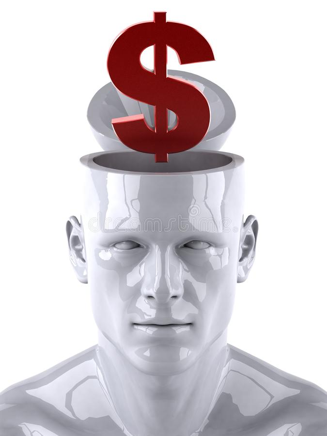 Mind and dollar. Mind concept, 3d generated picture vector illustration