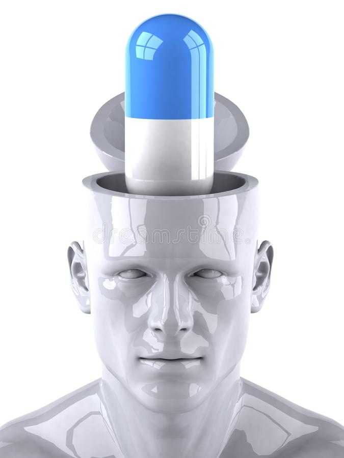 Mind and drugs. Mind concept, 3d generated picture vector illustration