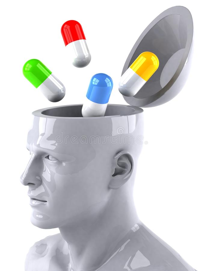 Mind and drugs. Mind concept, 3d generated picture royalty free illustration