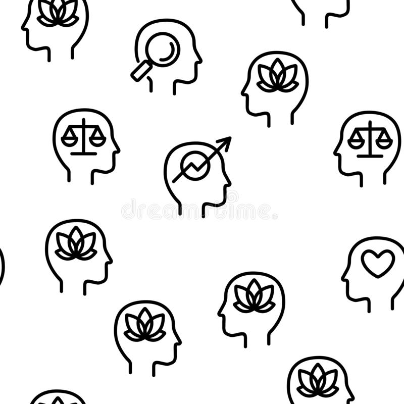 Mind Elements Vector Seamless Pattern stock illustration
