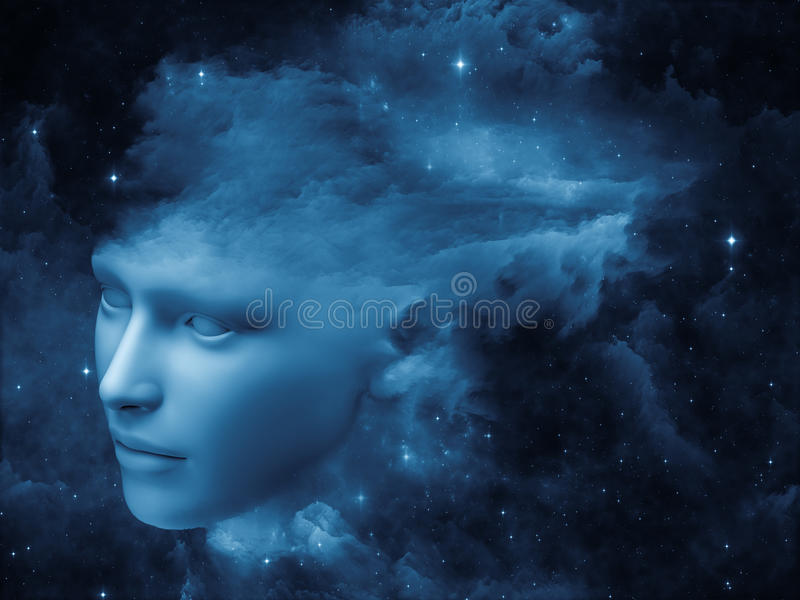 Mind Fog. Fractal Mind series. Design made of human head and fractal clouds to serve as backdrop for projects related to mind, dreams, thinking, consciousness