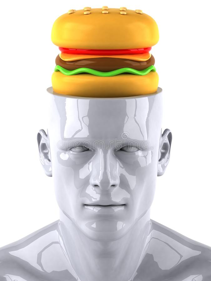 Mind and food. Mind concept, 3d generated picture vector illustration