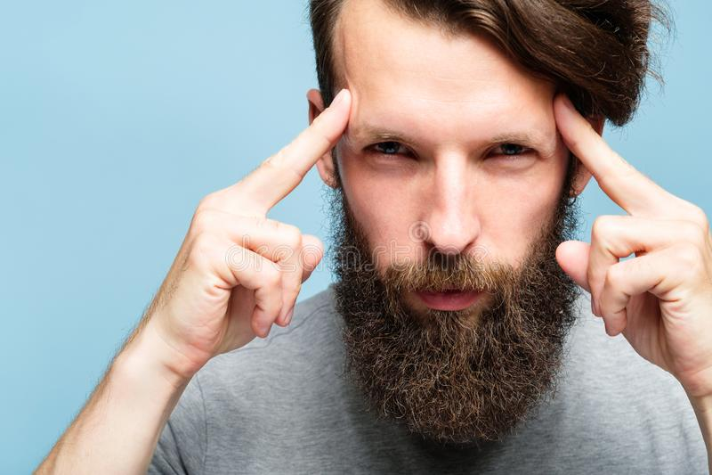 Mind games mentalist concentration brain power man stock image