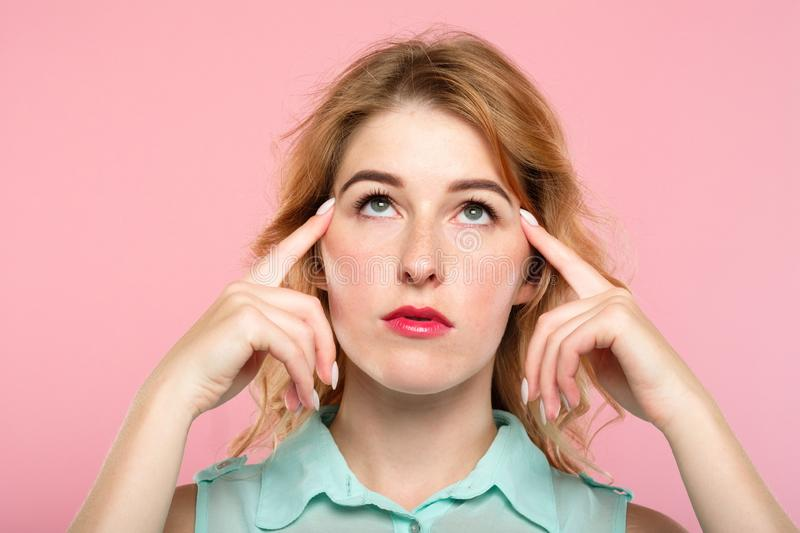 Mind games telepathy girl concentrate brain power stock photography