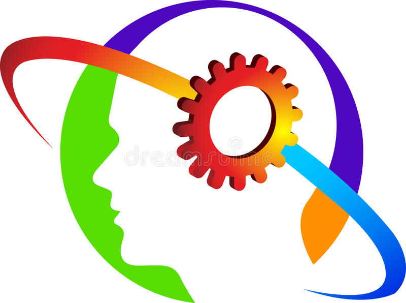 Mind gear logo vector illustration