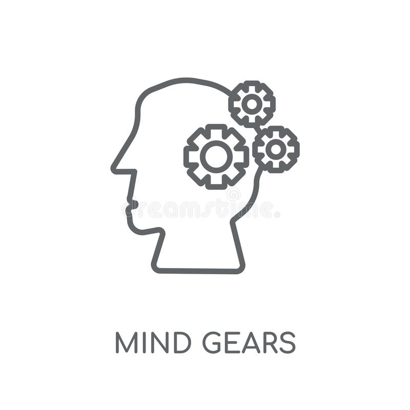Mind gears linear icon. Modern outline Mind gears logo concept o vector illustration
