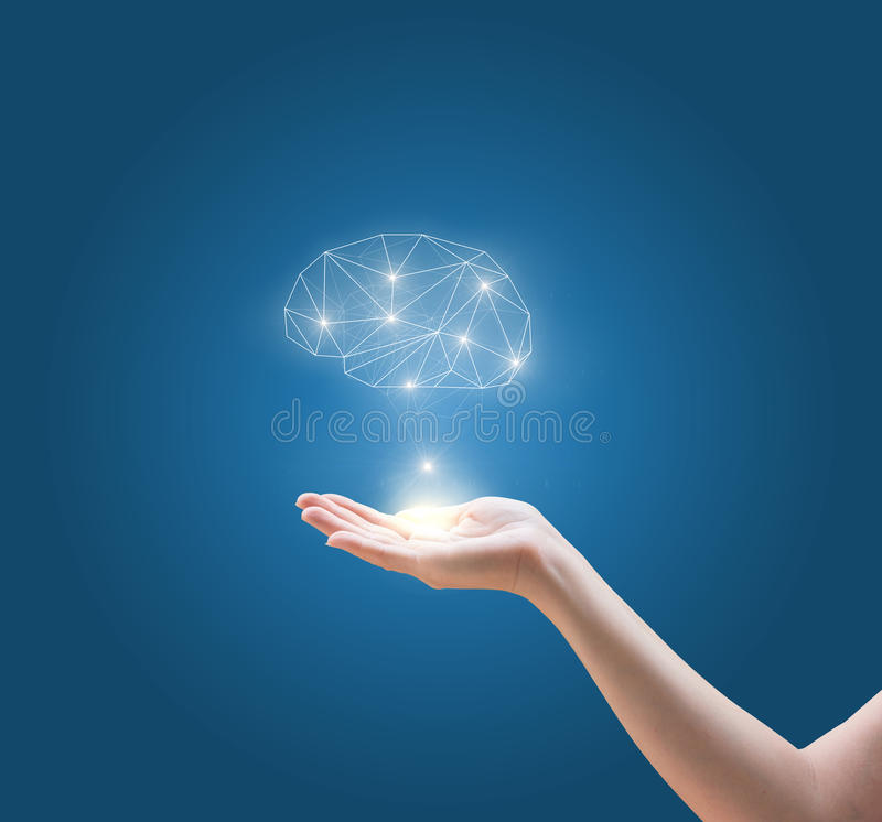 Mind in hand. stock images
