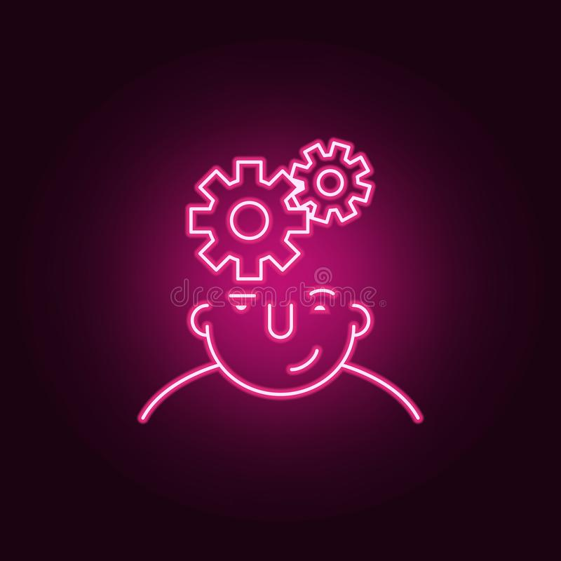 mind on head icon. Elements of What is in your mind in neon style icons. Simple icon for websites, web design, mobile app, info royalty free illustration