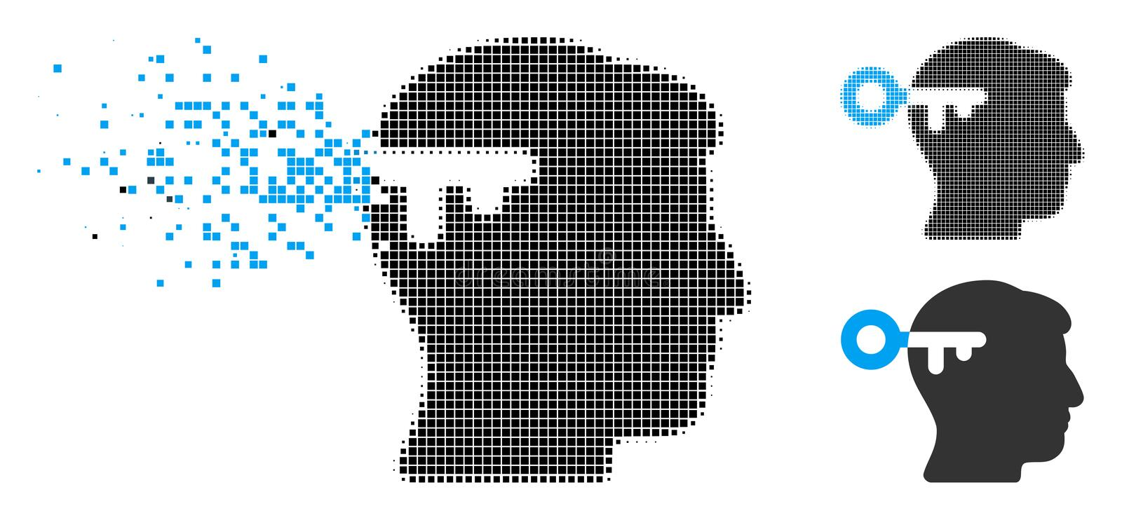 Broken Pixel Halftone Mind Key Icon vector illustration