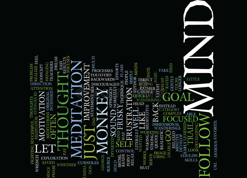 The Mind Is Like A Frisky Monkey Text Background Word Cloud Concept stock illustration