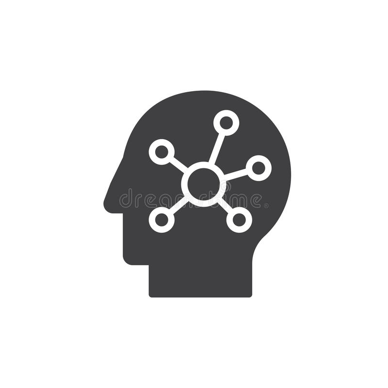 Mind Map In A Head Filled Outline Icon, Vector Sign Stock
