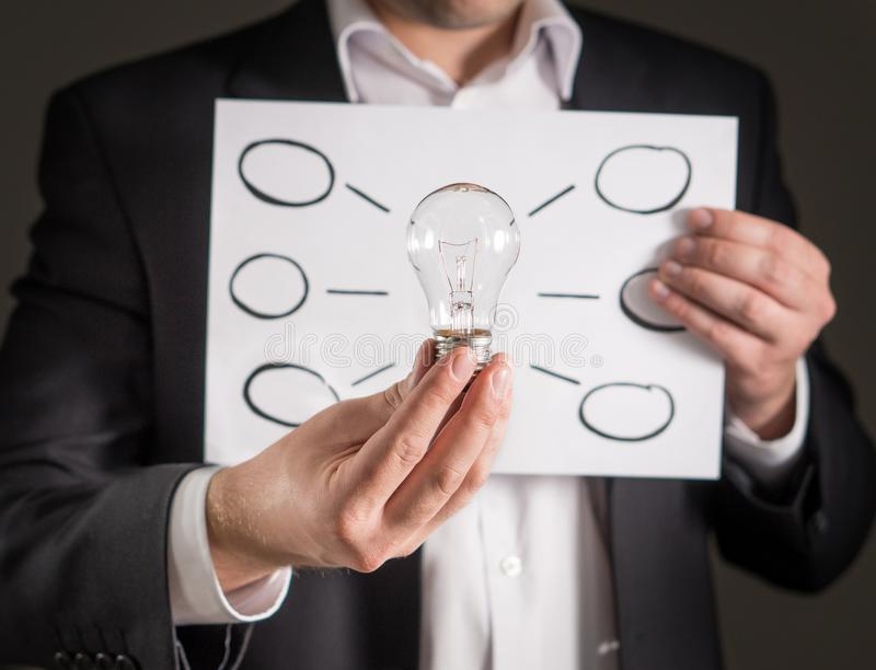 Mind map, new idea, innovation and brainstorming concept. stock photo