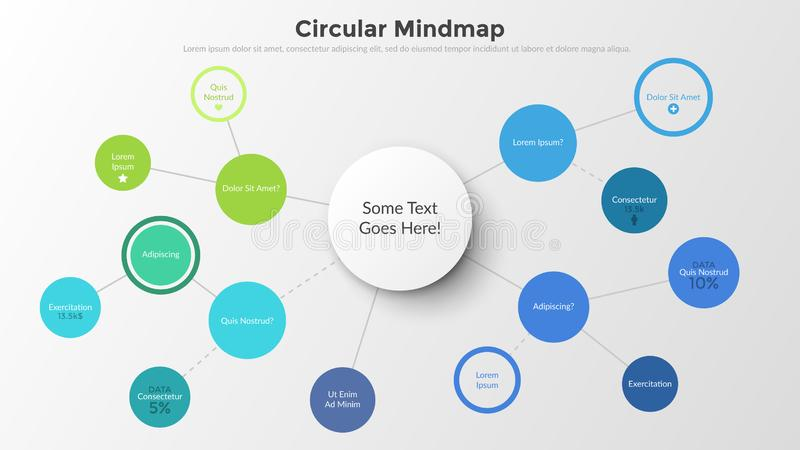 Infographic design template. Vector illustration. Mind map with round elements connected by coloful lines. Concept of schematic representation of information royalty free illustration