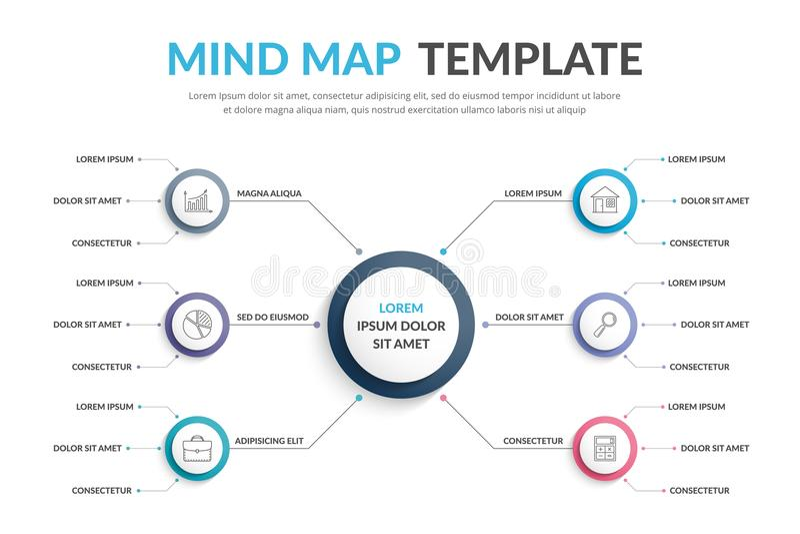 Mind Map Template stock illustration