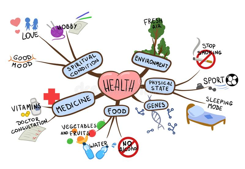 Mind map on the topic of health and healthy lifestyle. Mental map vector illustration, isolated on white. Mind map on the topic of health and healthy lifestyle vector illustration