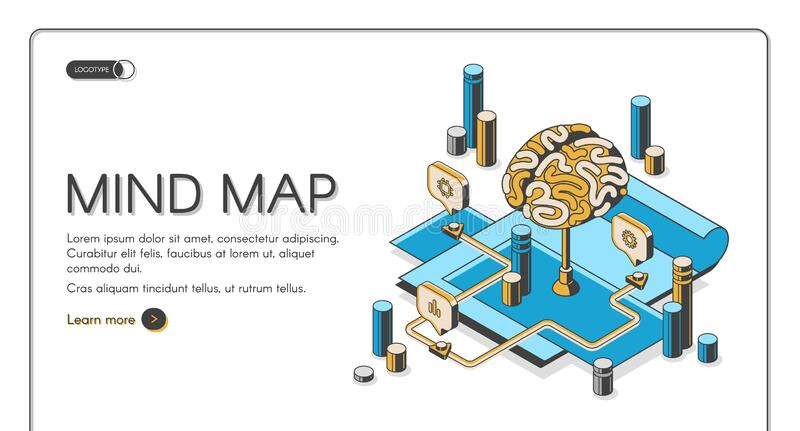 Mind map visual thinking tool isometric landing. Mind map isometric landing page, human brain and graphical way to represent ideas and concepts, visual thinking stock illustration