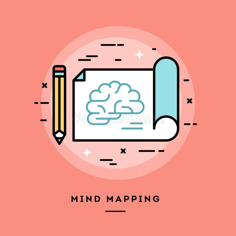 Mind mapping, flat design thin line banner vector illustration