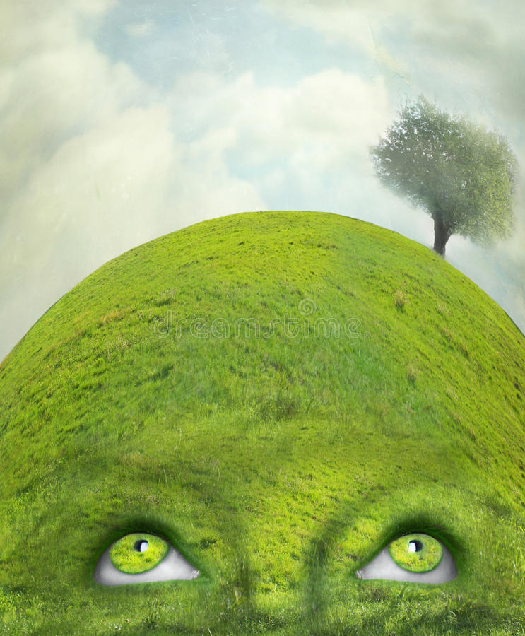 Mind at one with nature stock illustration