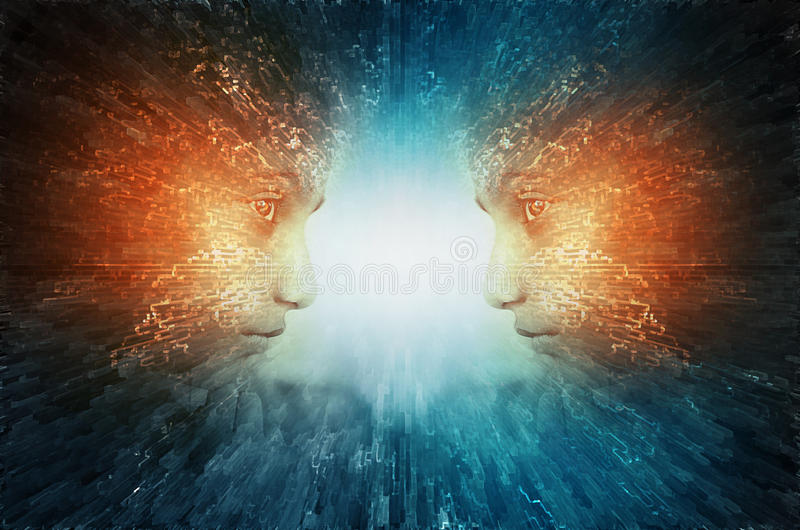Mind power abstract. Face thinking evolution sci fi royalty free stock images