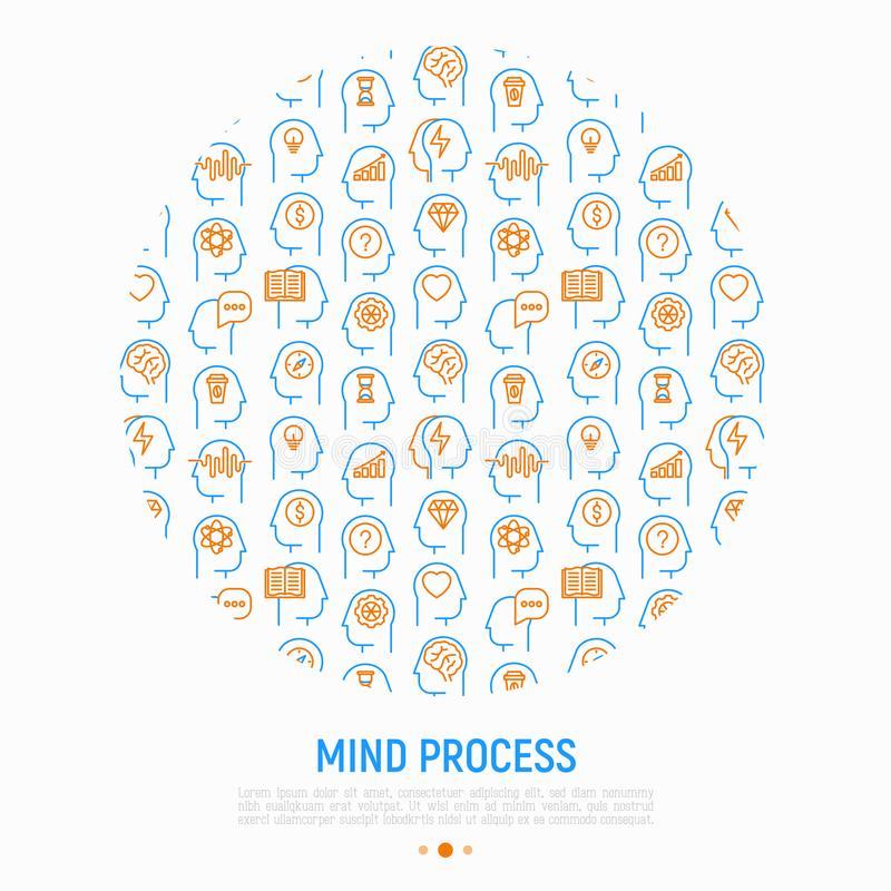 Mind process concept in circle royalty free illustration