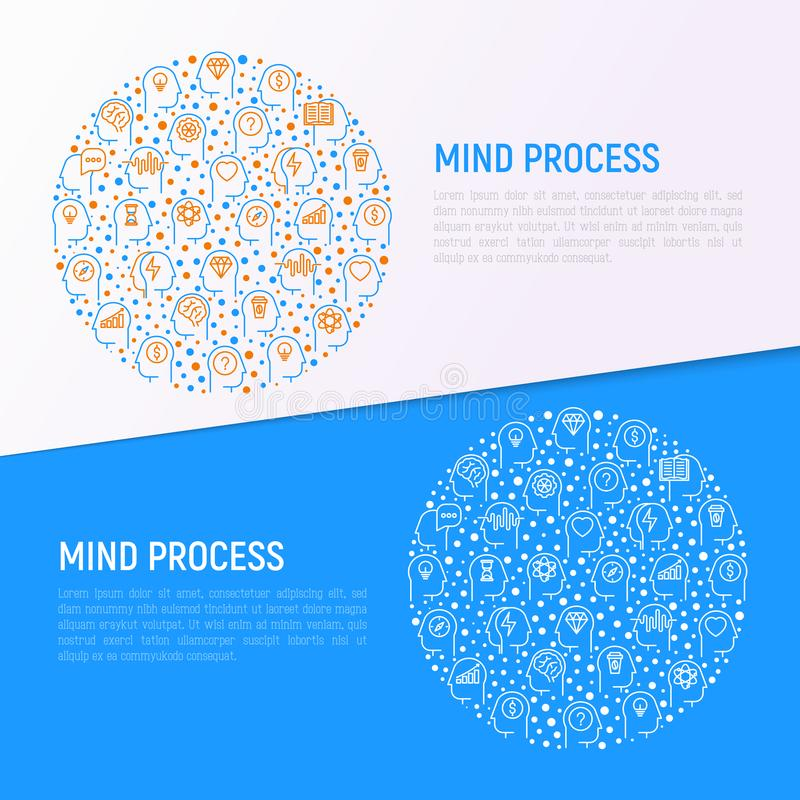 Mind process concept in circle stock illustration