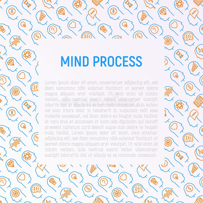 Mind process concept with thin line icons set royalty free illustration
