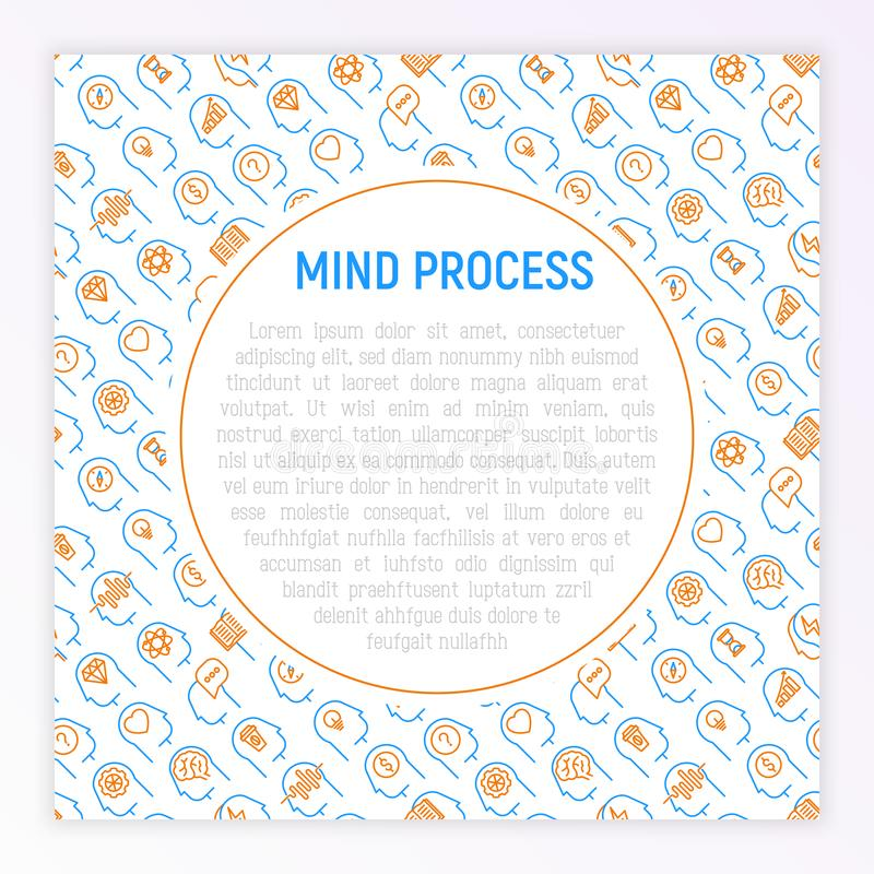 Mind process concept with thin line icons set stock illustration