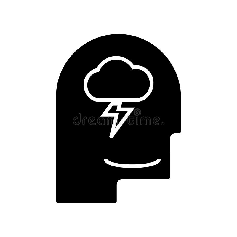 Mind process - head man icon, vector illustration, black sign on isolated background royalty free illustration