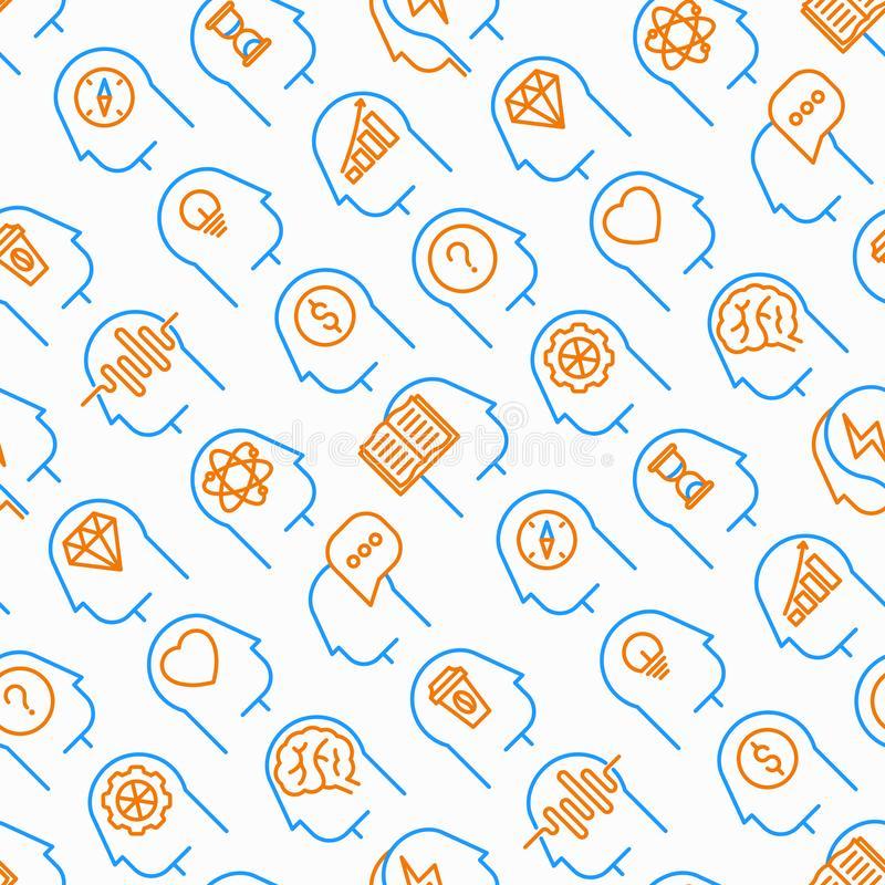 Mind process seamless pattern with thin line icons stock illustration