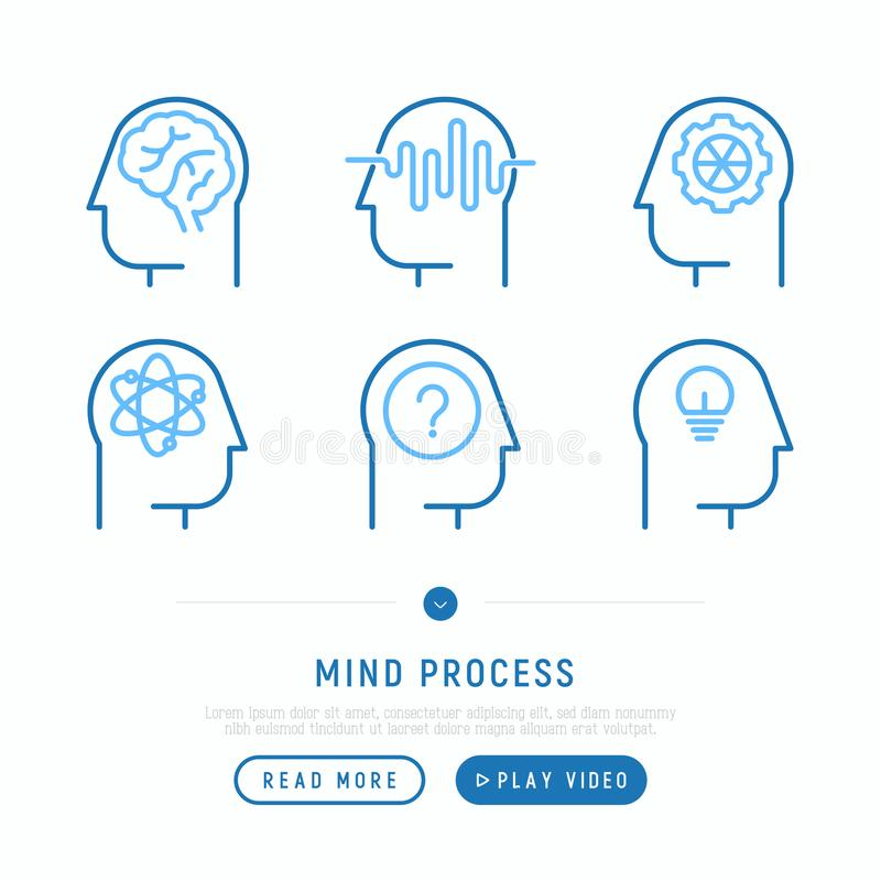 Mind process thin line icons set royalty free illustration