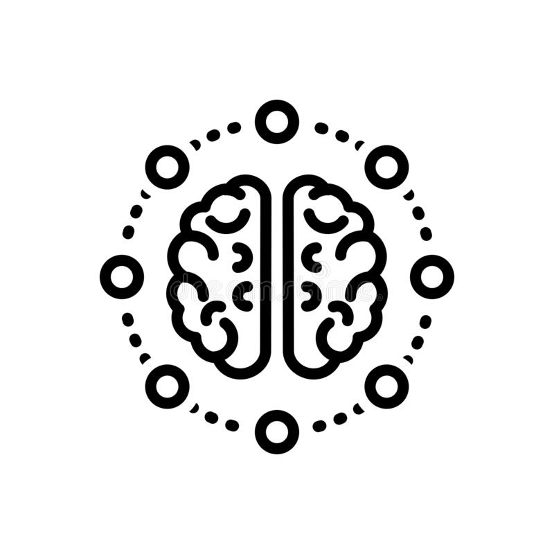 Black line icon for Mind share, thought and neurone vector illustration