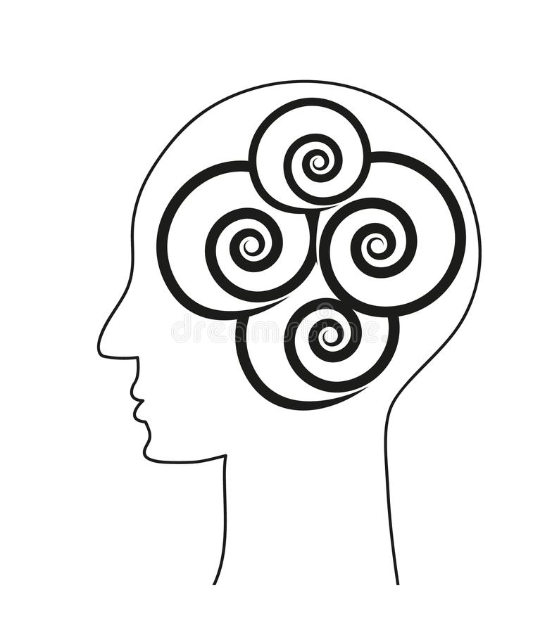 Human brain. Mind sign with spirals. Vector conceptual design. royalty free illustration