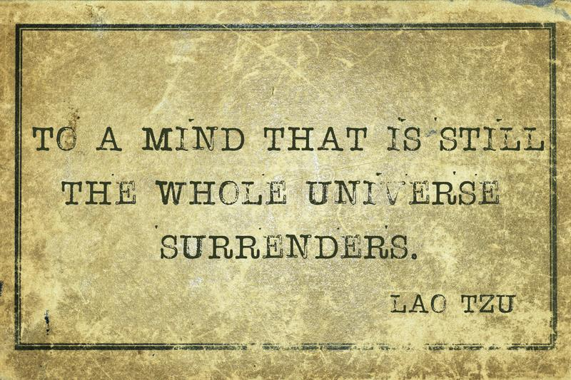 Mind Tzu. To a mind that is still - ancient Chinese philosopher Lao Tzu quote printed on grunge vintage cardboard stock images