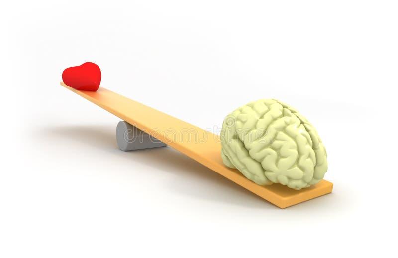 Mind vs Heart. 3D concept royalty free illustration